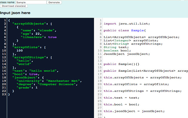 JSON to Java object