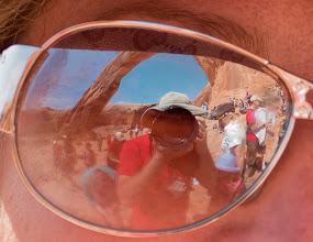 Photo: A fun self-portrait, using a friend's sunglasses, with Corona Arch also reflected.