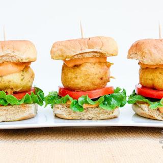 Potato Fritter Sliders w/Chipotle Sauce (vegan, gluten-free).