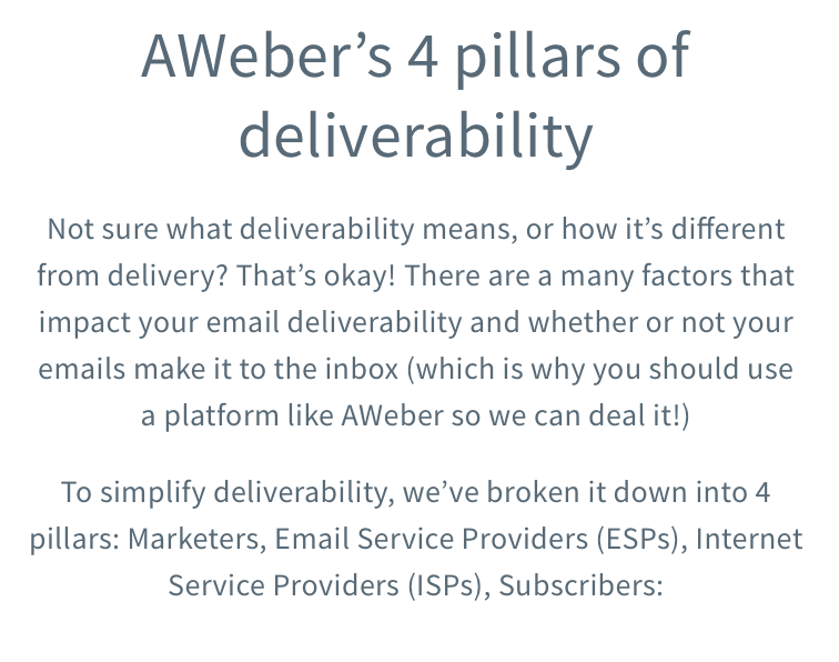4 pillars of aweber deliverability