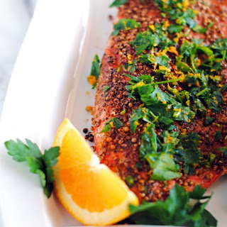 Pepper and Coriander Coated Salmon Fillets.