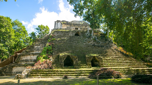 The Edificio 2 pyramid at the Mayan archaeological site Dzibanche in the Costa Maya region of Mexico.