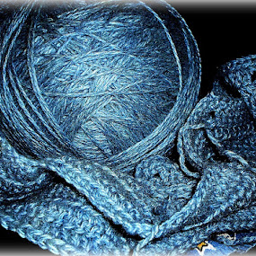 Birth of an Afghan by Regina Watkins - Artistic Objects Still Life ( blue, homeless, afghan, yarn,  )