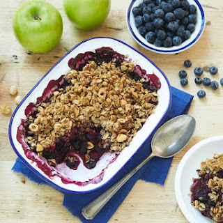 Blueberry-Apple Crisp with Hazelnuts.