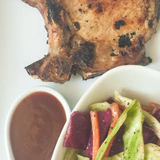 Southwestern Pork Chops with Adobo Sauce and Cole Slaw.