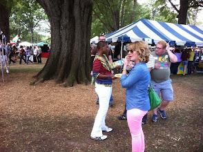 Photo: Carolyn handing out BBQ & brochures
