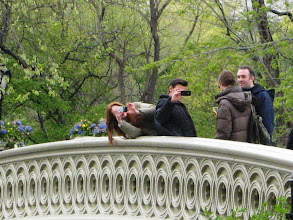 Photo: Doctor Who's Karen Gillan (Amy Pond) and Matt Smith (The Doctor) take pictures of those watching the shoot. Arthur Darvill (Rory Williams) is just to the left with his back to the crowd as he checks out the picture he had just taken of the onlookers in NYC's Central Park.