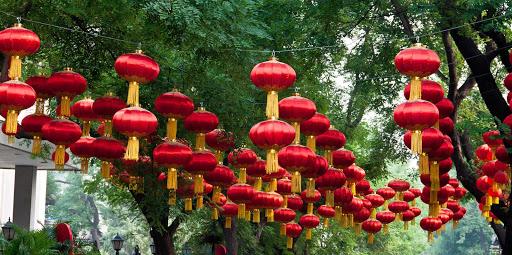 Beijing-lanterns - Lanterns decorate a park pathway in Beijing, China