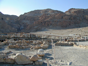 Photo: After the kibbutz, we headed to the Qumran Caves. In 1947, a Bedouin shepherd boy, searching for a lost goat, discovered the first Dead Sea Scrolls in one of the caves in the hills.