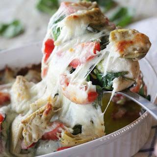 Easy Pesto Spinach Artichoke Chicken Bake.