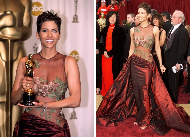 En 2002, Halle Berry  obtient l'Oscar pour son rôle dans À l'ombre de la haine. Pour l'événement, l'actrice est apparue avec un des ensembles les plus sexy de toute l'histoire des Oscars. La robe est signé Elie Saab. Dans un sondage publié dans le Daily Telegraph, la robe a été élue 8e plus grande robe de tapis rouge de tous les temps.