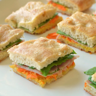 Mini Fourth of July Focaccia Sandwiches.