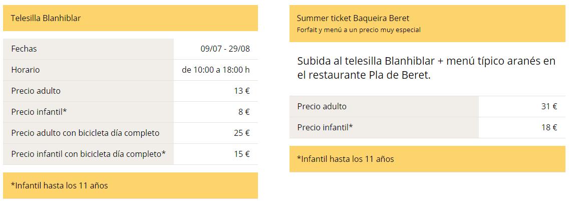 Verano en Baqueira - Telesilla Blanhiblar