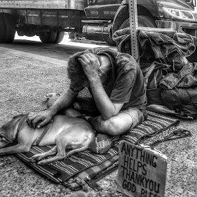 Homlessness by Mark Lawrence - Black & White Street & Candid ( help, homeless, dog )