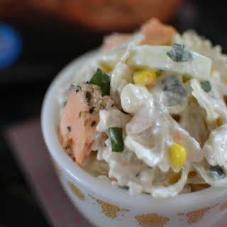 Salmon, Sweet Corn and Cucumber Pasta Salad.