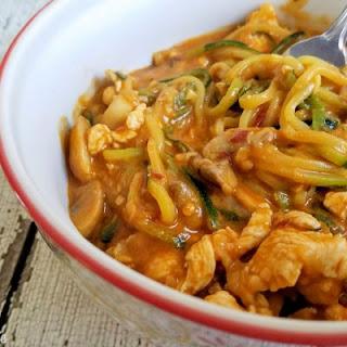 Chicken Zucchini Noodles in Peanut Sauce
