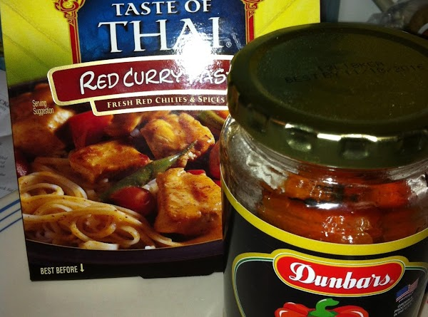 In a small glass bowl mix together the Red Curry paste, and Cornstarch and...