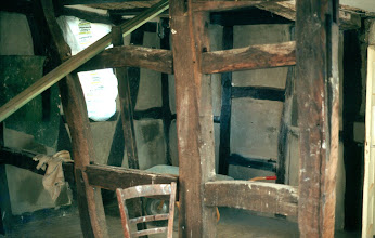 Photo: This is part of what became the upstairs living room after the inner plaster (mud and adobe) had come off, plastering was done to the stone and straw fields and the oak beams had been sealed and stained.