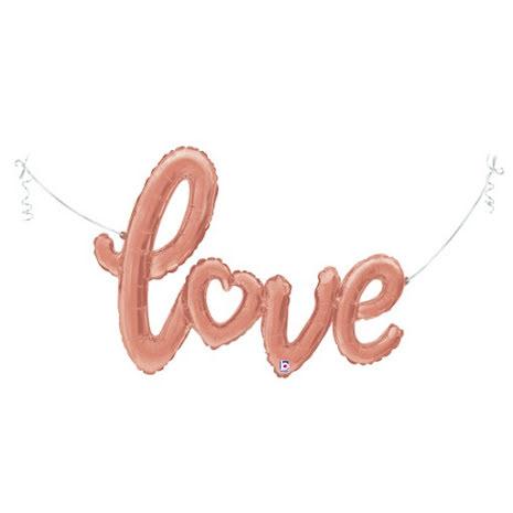 Folieballong - love script roséguld