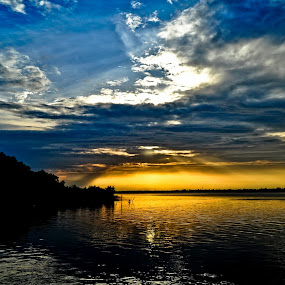 Gloroius Sunset  colours at Sunderbans by Subroto Mukherjee - Landscapes Travel ( water, sky, sunset, delta, mangrove, sunderbans )