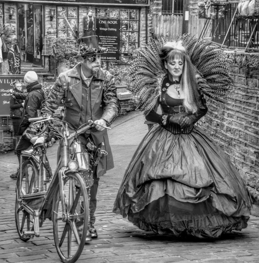 by Betty Taylor - Black & White Portraits & People ( steampunk, candid, dressing up, street photography )