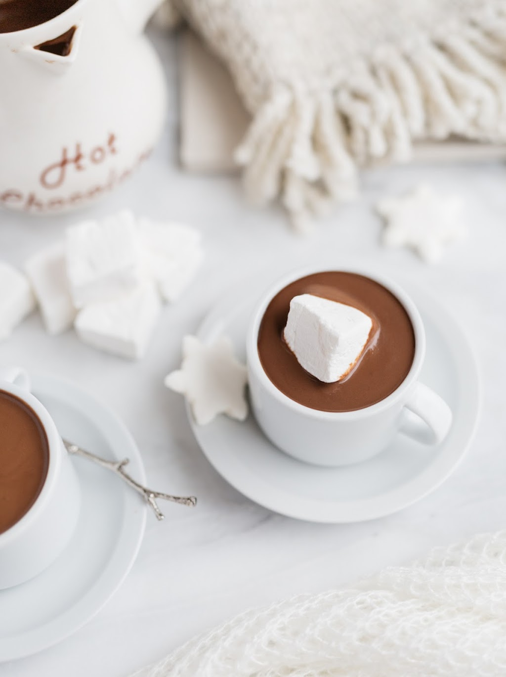 european style hot chocolate in a mug with marshmallows