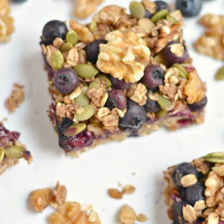 Blueberry Protein Walnut Breakfast Bars {GF, Low Cal, Vegan}