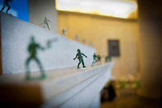 Photo: Toy soldiers line the Infinite Corridor at MIT prior to the start of finals in December 2011. By Patrick Gillooly/MIT News