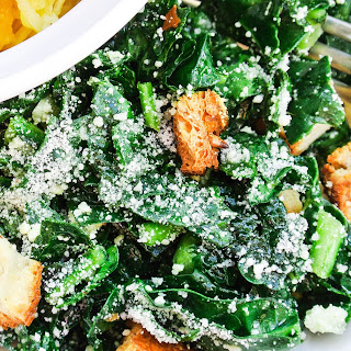 Easy Raw Kale Salad with Garlicky Dressing.