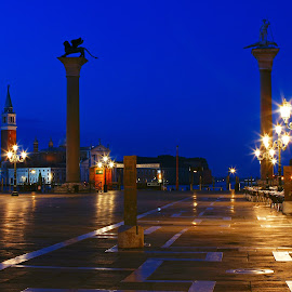 piazza of saint marcus by Ni Francisco - City,  Street & Park  Night ( lights, venice, night, italy,  )