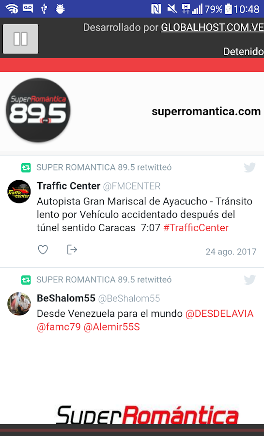 SUPER ROMANTICA 89.5 FM: captura de pantalla