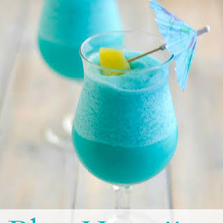 Tropical Frozen Blue Hawaiian Cocktail.