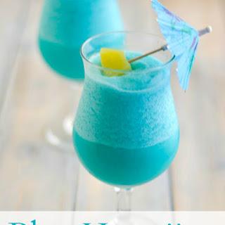 Tropical Frozen Blue Hawaiian Cocktail.