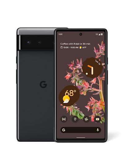 An image of the front and back sides of a Pixel 6 phone.