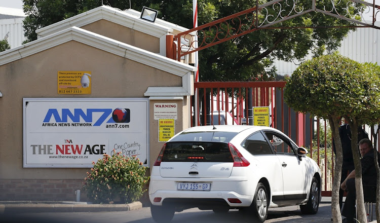 An entrance to the ANN7 Television and The New Age newspaper offices, owned by the Gupta family, in Midrand, Johannesburg.