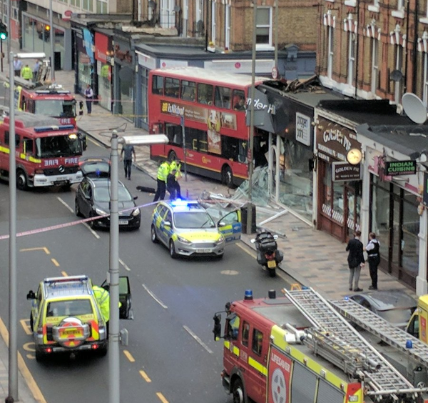 A double-decker bus crashed into a building in south London on Thursday.