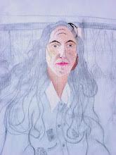 Photo: visage peint, dessin préparatoire fait sur la toile à peindre (détail) - Versailes, au bassin du Trianon