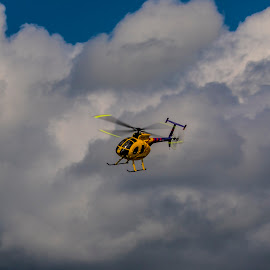 Yellow aircraft by Paul Drajem - Transportation Helicopters ( rc helicopter, helicopter, aircraft, flying, yellow, radio control, transportation,  )