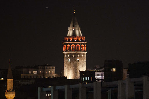 Galata-Tower-in-Istanbul-at-night.jpg -   Galata Tower, a medieval stone tower in the Galata/Karaköy quarter of Istanbul, at night. Shot taken from aboard Viking Star.