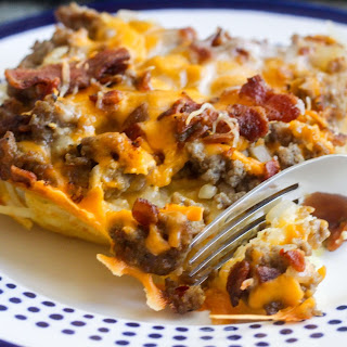 Sweet and Spicy Hash Brown and Sausage Breakfast Casserole.