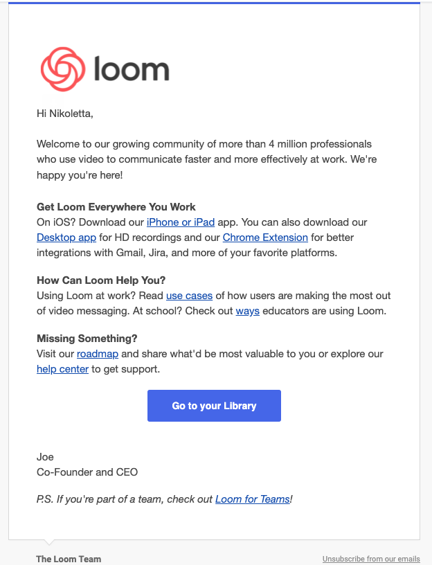Welcome customer onboarding message example from Loom.