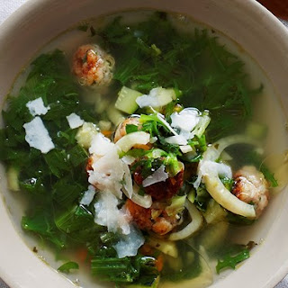 Italian Wedding Soup With Chicken Meatballs.