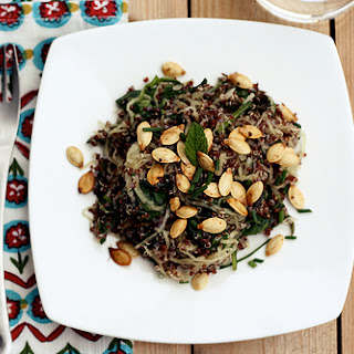 Red Quinoa with Spaghetti Squash, Spinach, Fresh Herbs and Toasted Pumpkin Seeds.