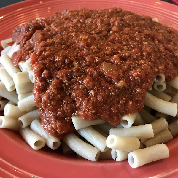 Gluten free penne with meat sauce