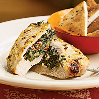 Pork Chops Stuffed with Feta and Spinach.