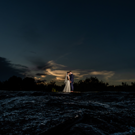 River of Dreams by Lood Goosen (LWG Photo) - Wedding Bride & Groom ( love, bride, wedding dress, couple, groom, bride groom, weddings, wedding day, brides, grooms, water, bride and groom, sunset, destination wedding, wedding, river )