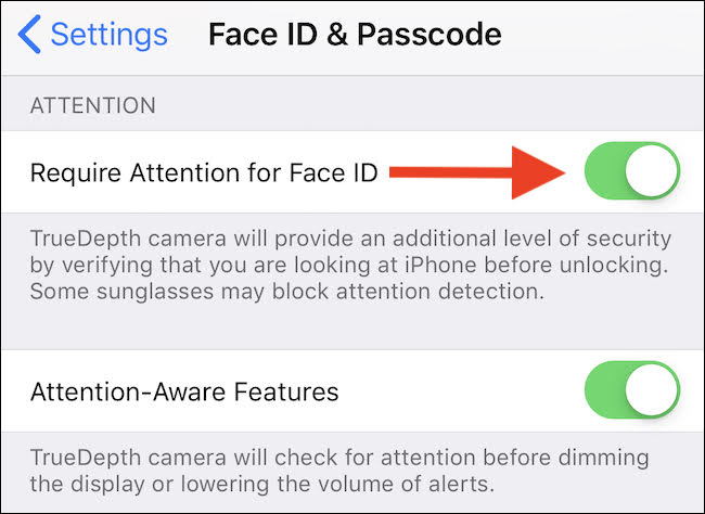 iOS toggle off Require Attention for Face ID