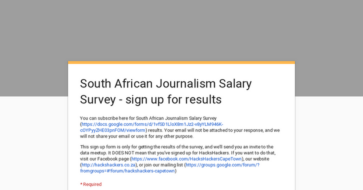 South African Journalism Salary Survey - sign up for results