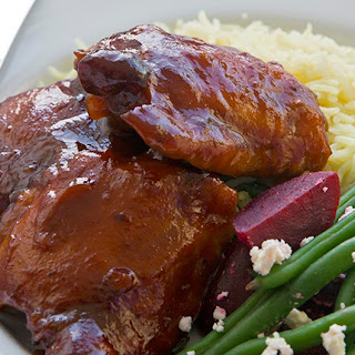 Chicken In Barbecue Sauce With A Green Bean, Pickled Beetroot And Feta Salad