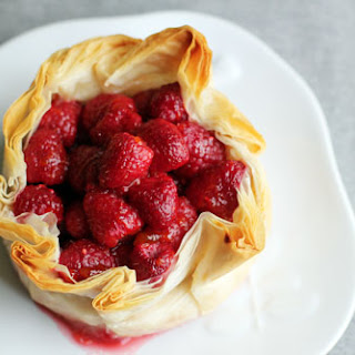 Brie Phyllo Torte with Fresh Raspberries.
